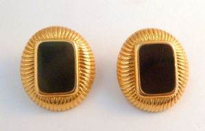 Vintage Large Monet Black Enamel And Gold Clip On Earrings.
